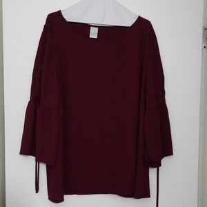 Wine red blouse, time and tru